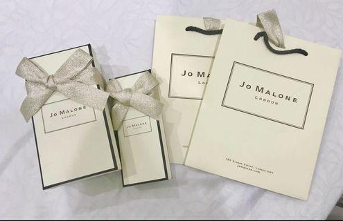 JO MALONE 包裝盒+袋子 兩組  盒子跟手提皆有緞帶 贈乳液