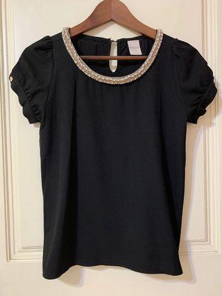 珍珠圓領黑色雪紡上衣 XS