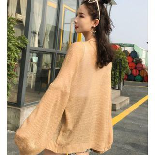 T2-319Oversized Thin Knit Cardigan  WHITE/BEIGE/BROWN