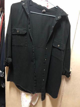 牛仔黑色襯衫外套