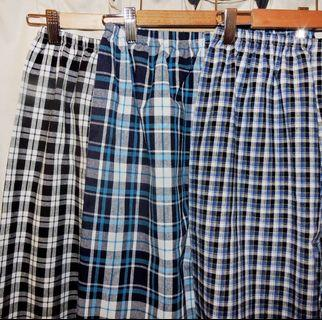 Space valley 麻料藍色鬆緊格紋褲 格子褲 原宿風 復古 寶藍 寬褲 長褲