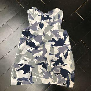 Tropical army sleeveless top