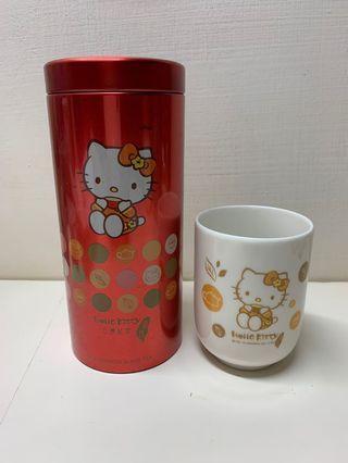 Hello kitty 茶杯+鐵罐