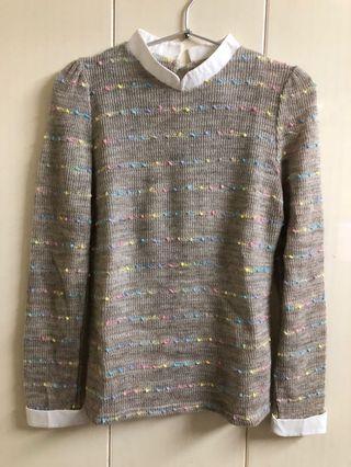 正韓針織拚襯衫領毛衣