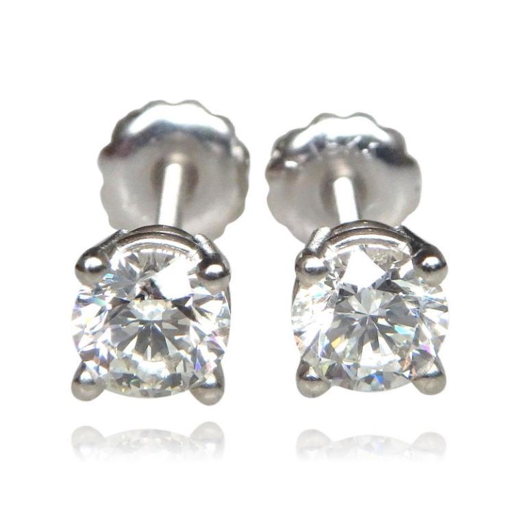 1 Carat GIA Certified Diamond Stud Earrings 5 mm, 18 K White Gold