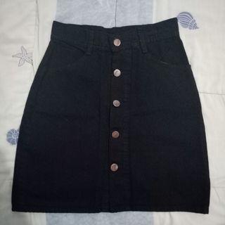 Black button denim mini skirt