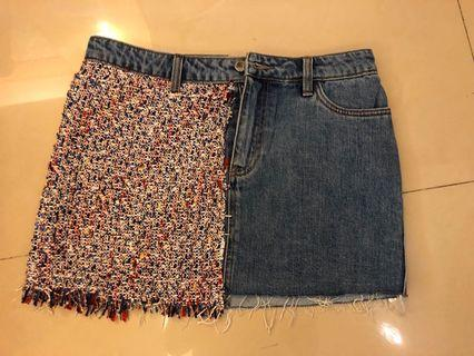 Zara拼接短裙