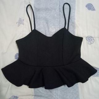 Black Peplum Crop Top