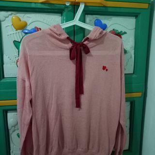 Sheer hoodie pink (korean style)