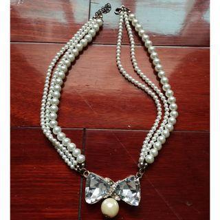 頸鍊超美頸飾~鎖骨鍊~水鑽蝴蝶結珍珠~黑白珍珠~珍珠蝴蝶結領~花朵~新娘秘書造型飾品