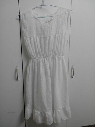 縮腰白色洋裝