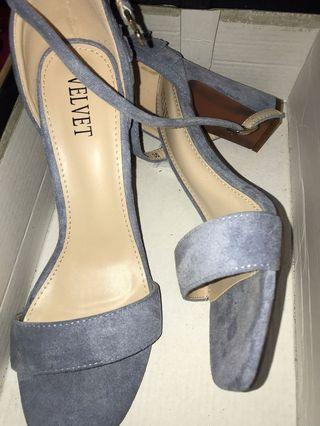 Velvet sandals heels