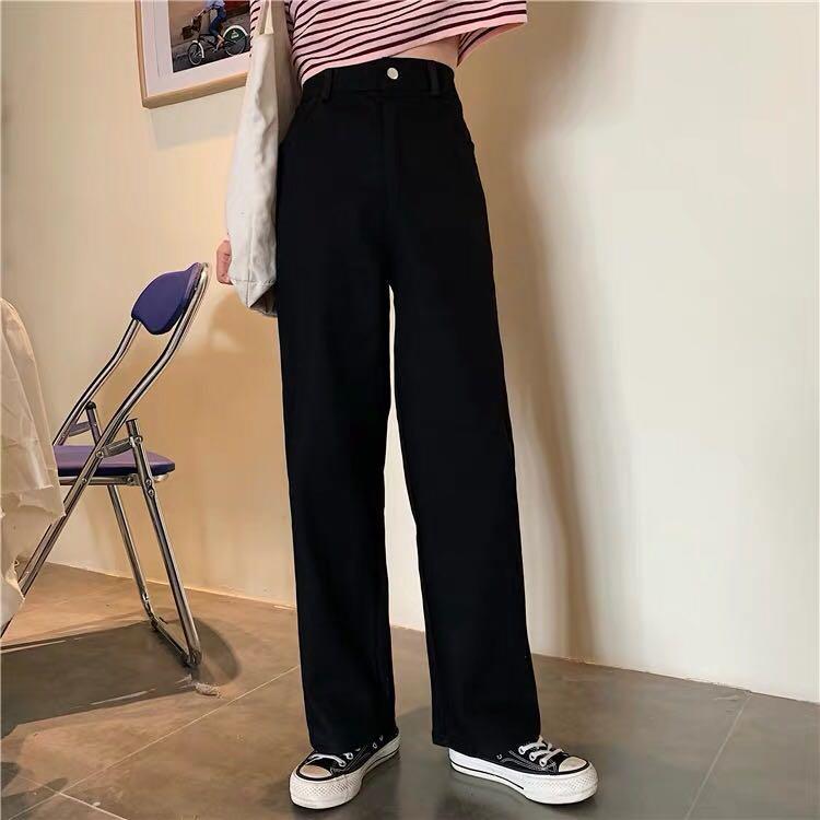 寬版直筒高腰褲