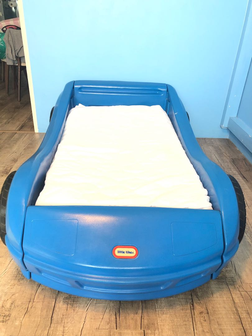 Authenic Little Tikes Kids Toddlers Sporty Blue Car Bed Usa Babies Kids Cots Cribs On Carousell