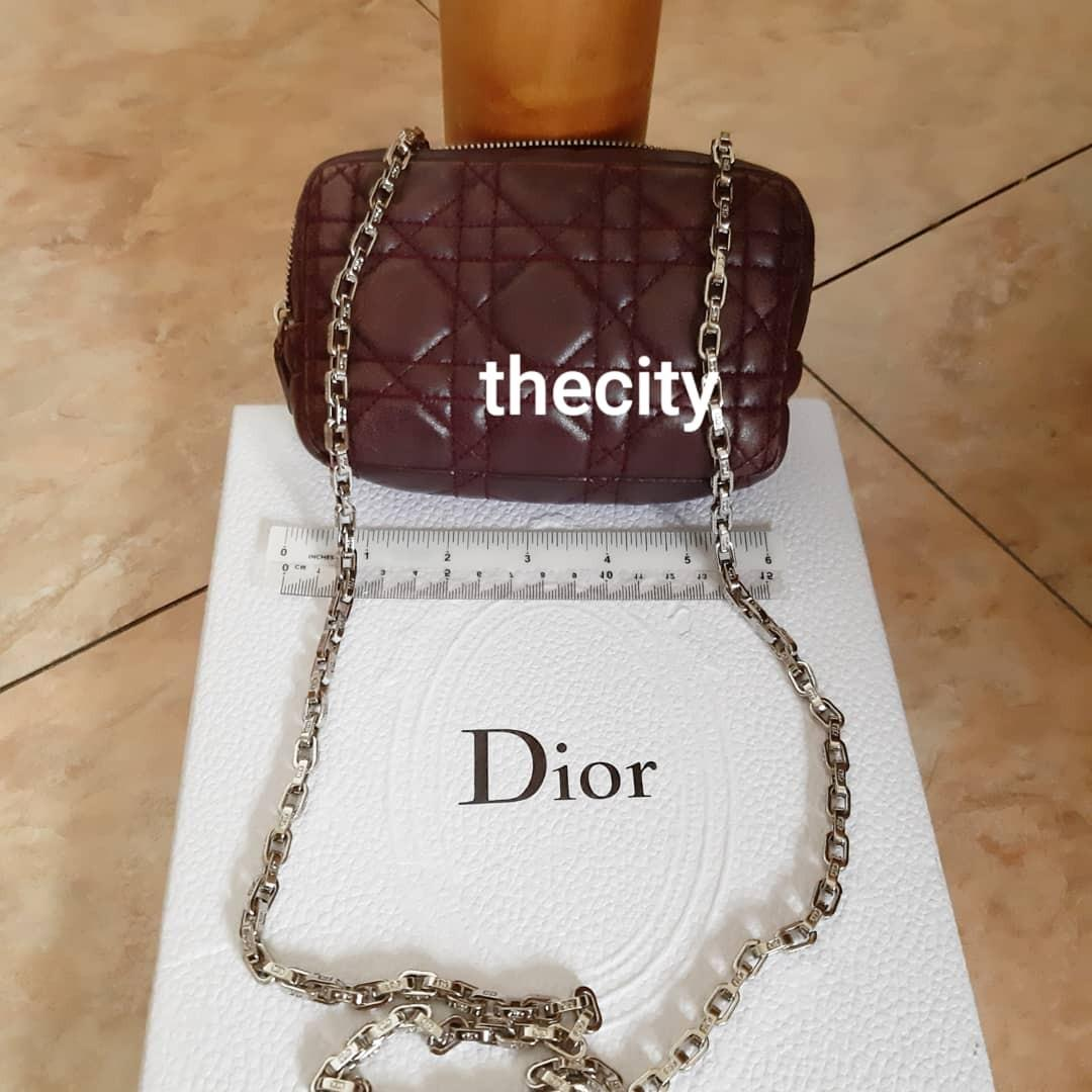 AUTHENTIC DIOR, LADY DIOR QUILTED VANITY POUCH BAG - LAMBSKIN LEATHER - CLEAN INTERIOR -  SILVER HARDWARE - COMES WITH EXTRA HOOKS & DIOR CHAIN STRAP FOR  CROSSBODY SLING - (DIOR, LADY DIOR QUILTED POUCHES ON CHAIN NOW RETAIL AROUND RM 6000+)