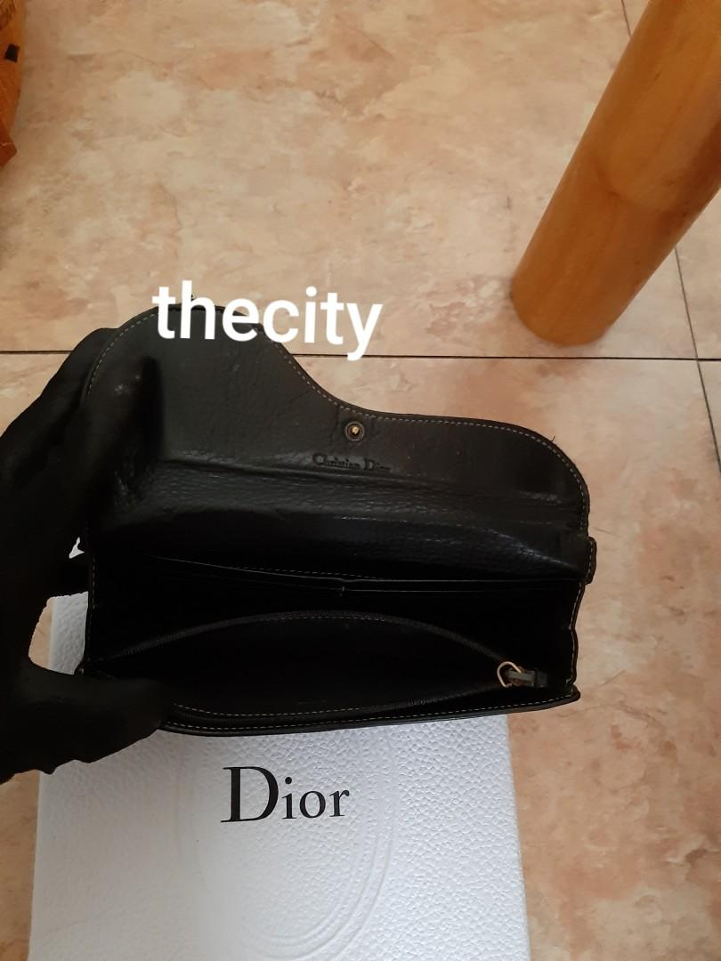 AUTHENTIC DIOR SADDLE LEATHER WALLET- CLASSIC VINTAGE DESIGN THAT'S NOW BACK IN FASHION FOR 2019 - OK / FAIR - GOLD HARDWARE - (DIOR LONG SADDLE WALLETS NOW RETAIL AROUND RM 4000+)