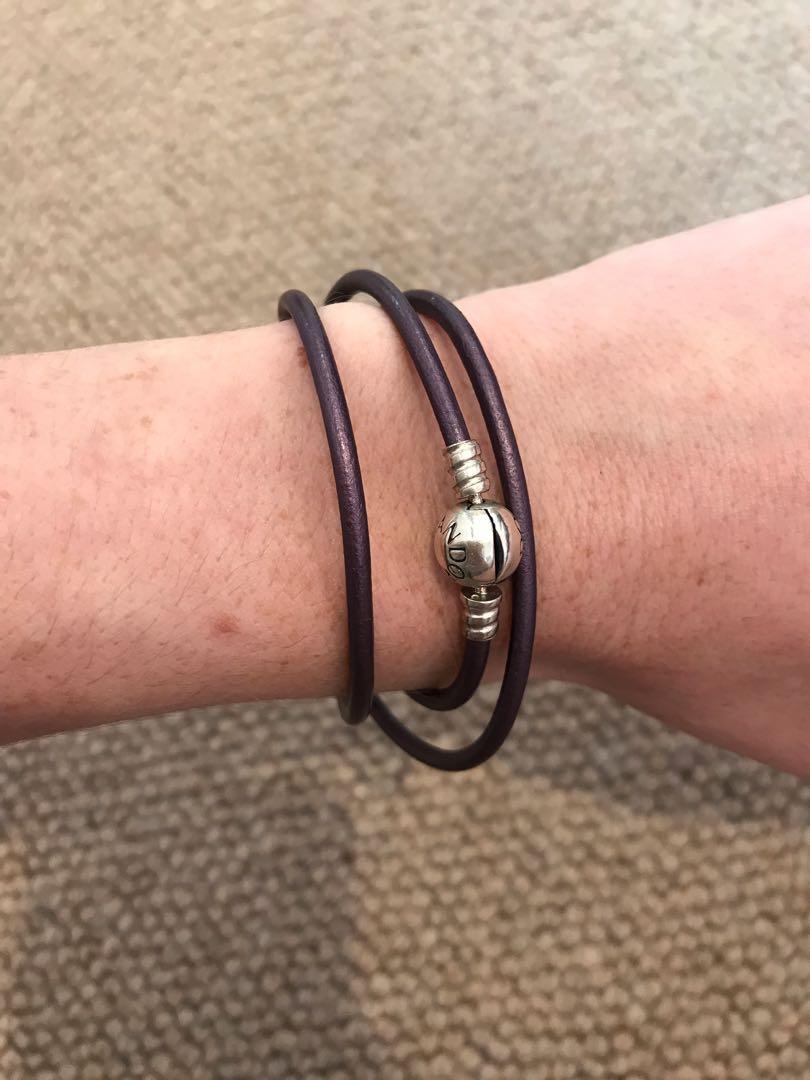 Authentic Pandora Purple Leather Triple Wrap Charm Bracelet