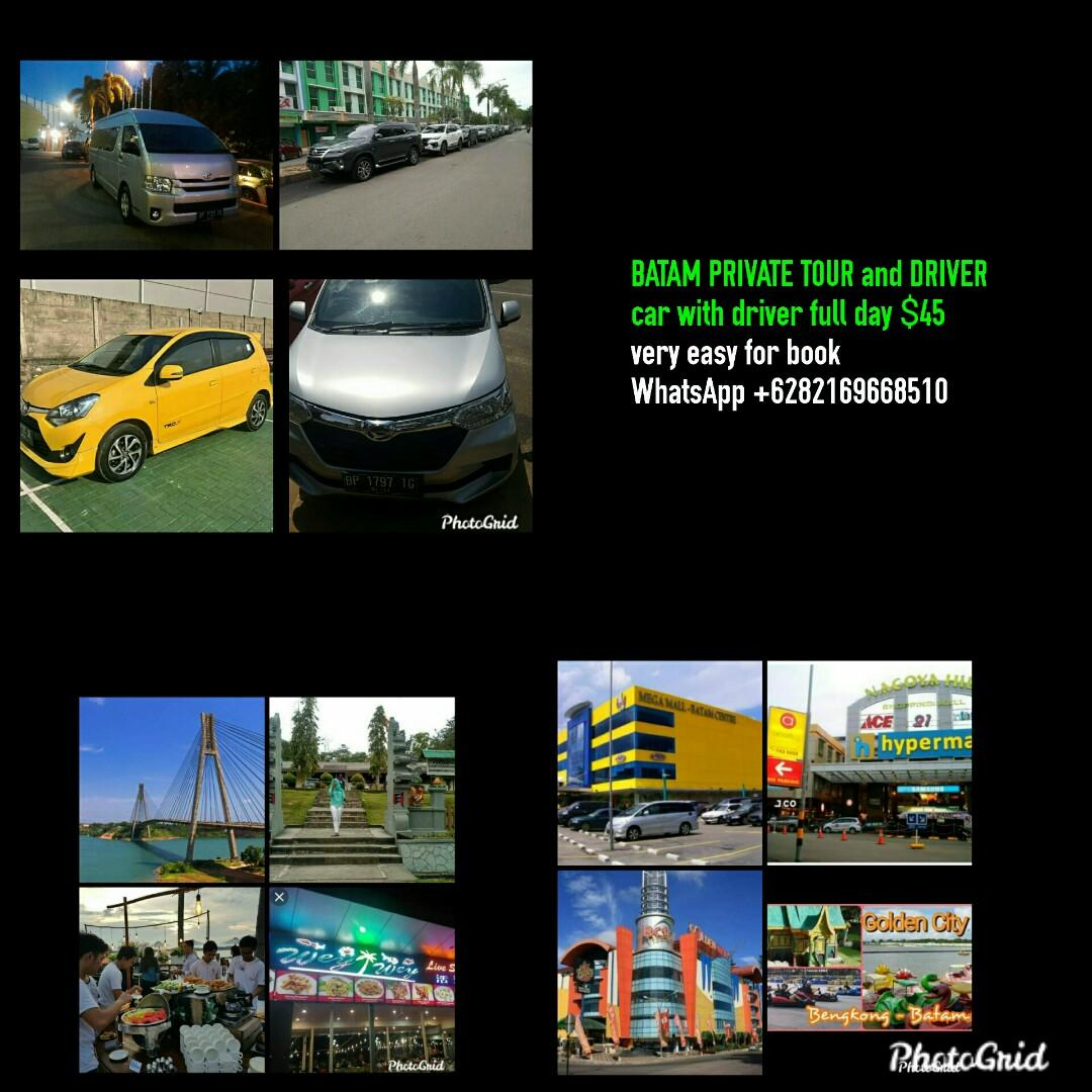 Batam private tour and driver.rent car batam.whatsaap.+6282169668510