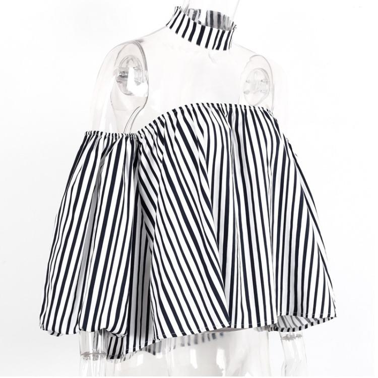 Black White Stripe Puff Sleeve Blouse Shirts off shoulder Summer Fashion New Tops sexy blouse
