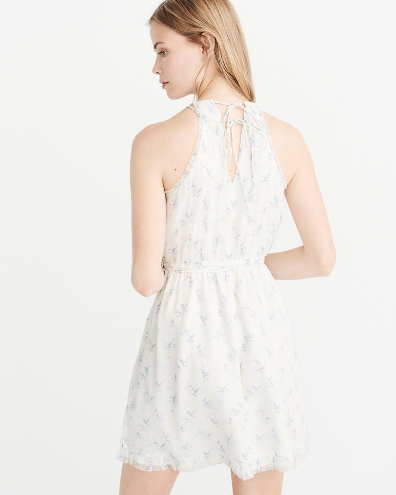[Brand New Authentic] Abercrombie & Fitch White Floral High-Neck Floral Chiffon Dress