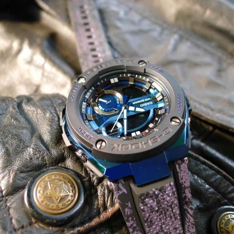Casio G-STEEL GST-200CP-2A G-Shock Analog Digital Sporty Design Metal Crystal Pattern Printed Resin Band Blue Stainless Steel Case Original Watch GST-200CP
