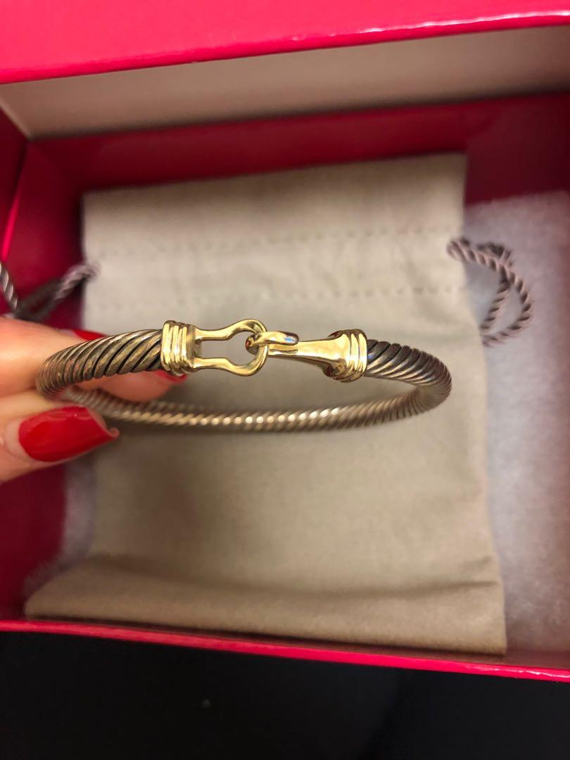 David Yurman Sterling Silver & 14k gold 5mm cable bracelet