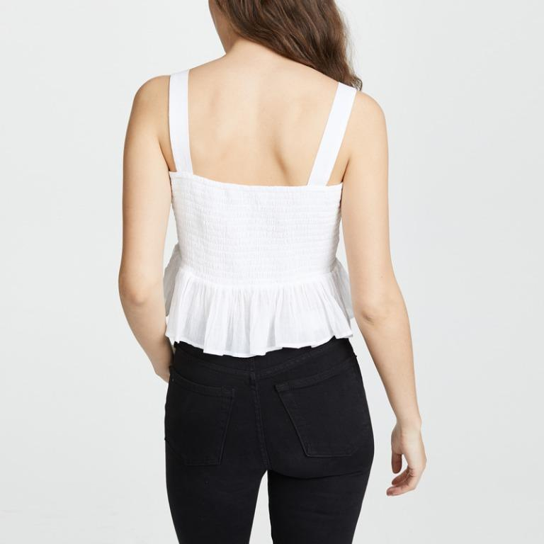 Embroidery Ladies Ruffles Sleeveless Embroidered Sexy Top