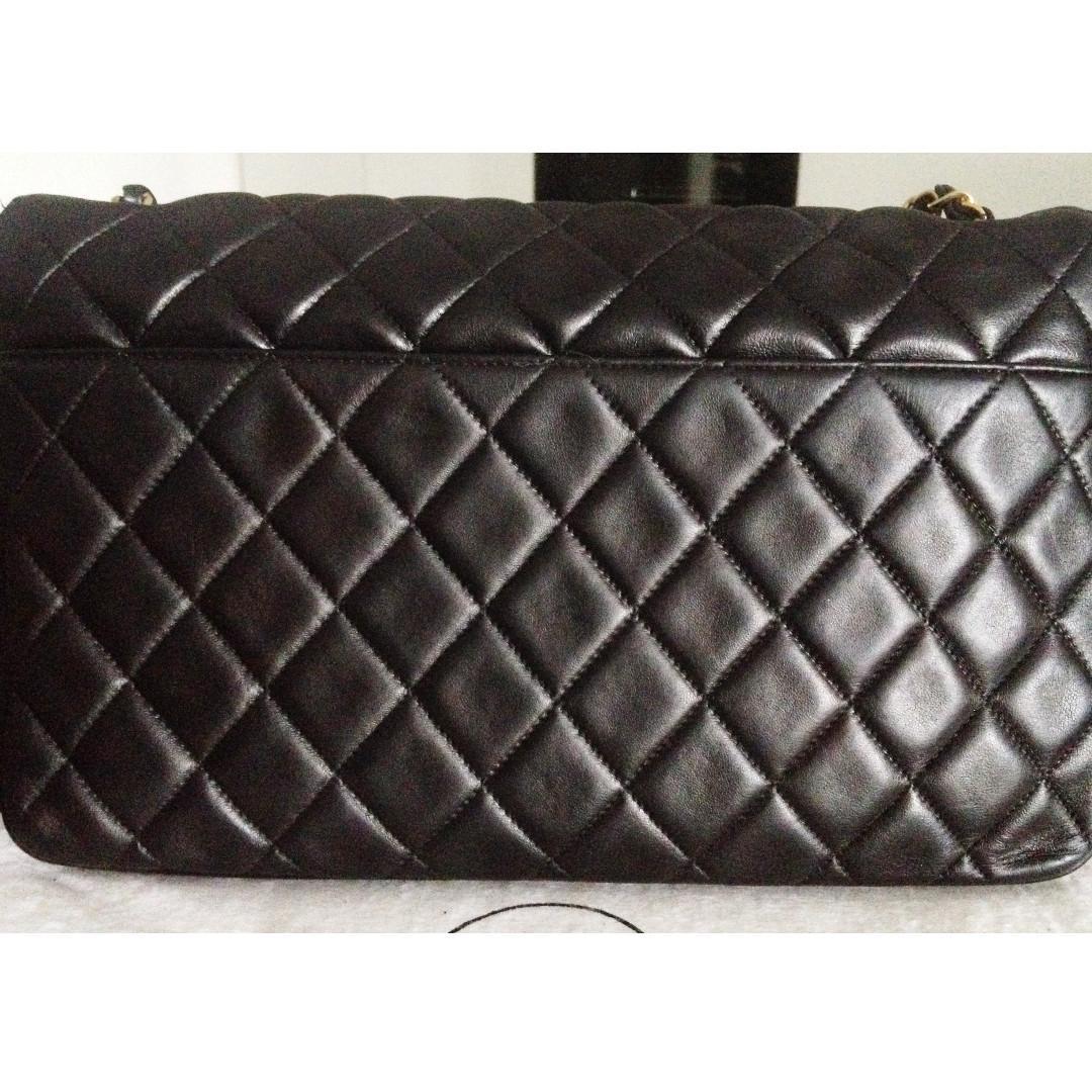 FULL SET CHANEL Black Quilted Lambskin Gold Chain Jumbo Single Flap Shoulder Bag