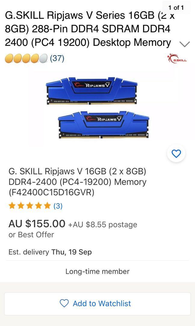 G Skill Ripjaws V 16GB (2X&GB) DDR4-2400 (PC4-19200) Memory (F42400C15D16GVR