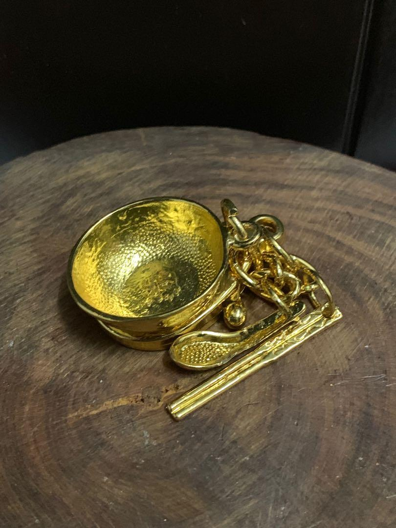 Golden Fortune Bowl Chopstick And Spoon Keychain
