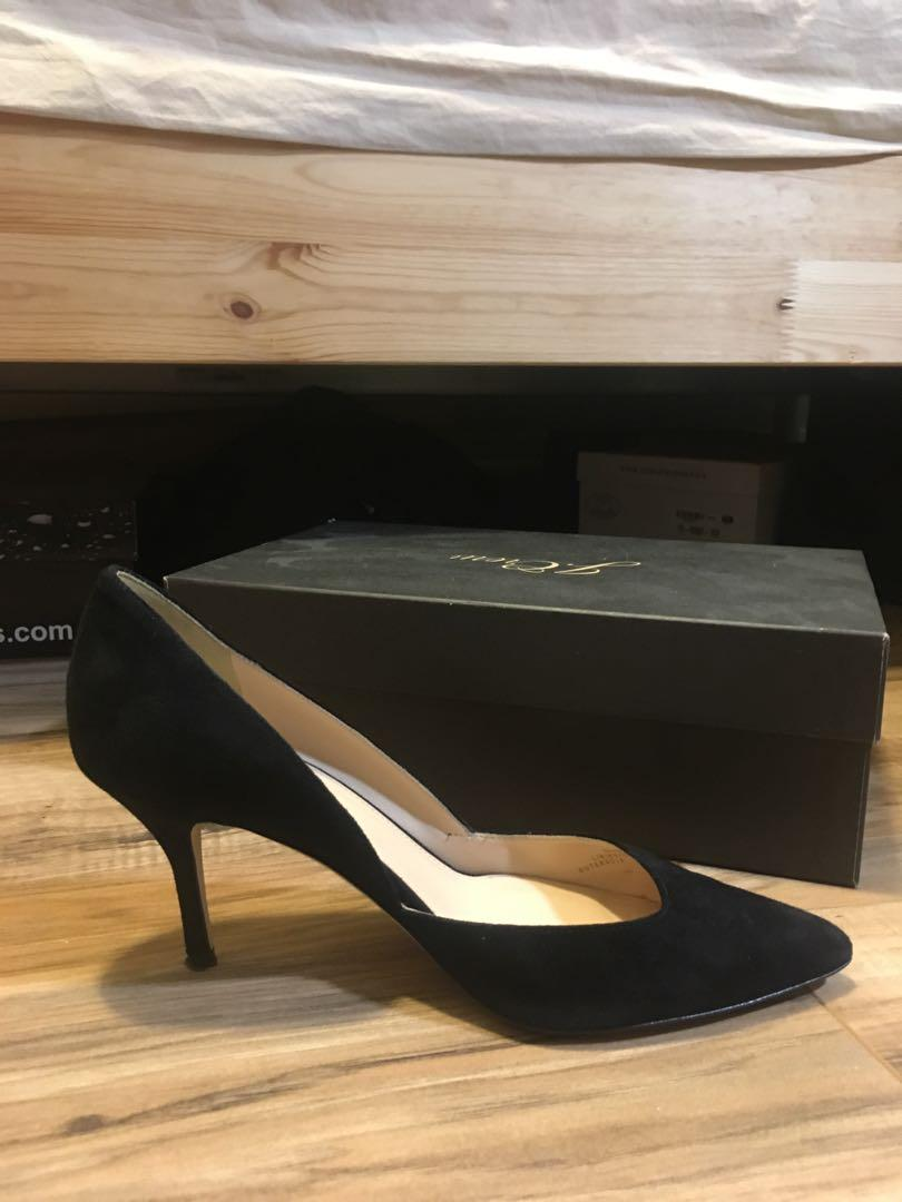 J.CREW Colette Suede  D'orsay Black HEELS E0795, Size 7.5
