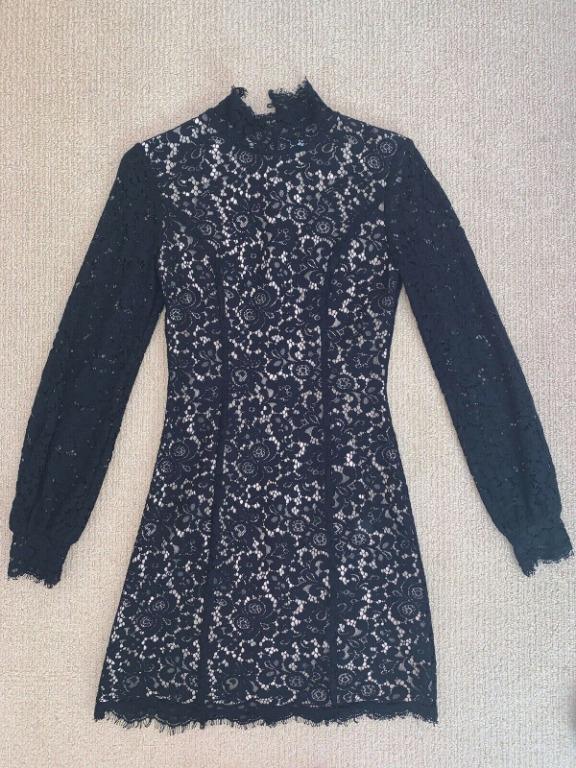 Keepsake The Label Black Lace Long Sleeve Dress Size XS