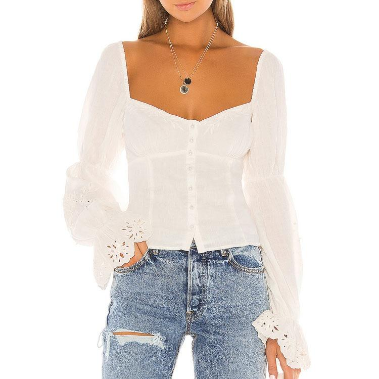 Long Sleeve Cotton Square Collar Design Blouse For Women Tops