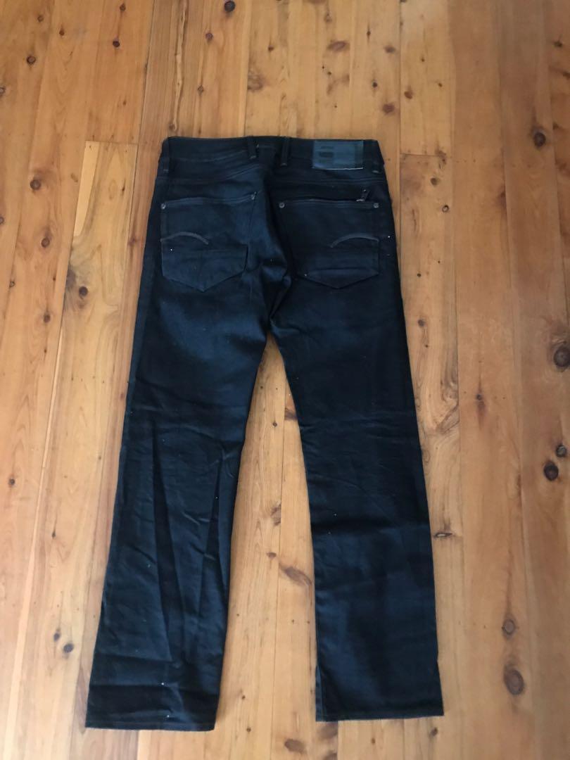 Men's g-star black attacc straight leg denim jeans w31 L30