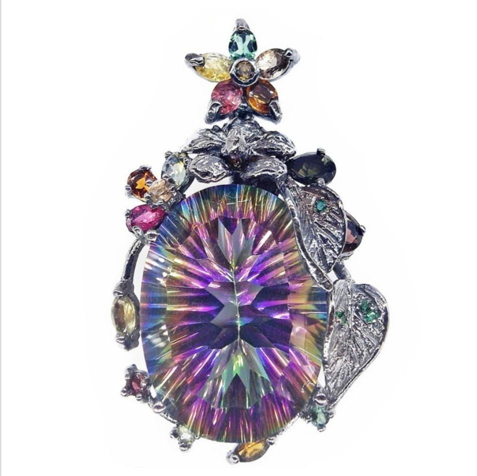 NATURAL PENDANT FLOWER WHITE TOPAZ FANCY COLOUR TOURMALINE, GREEN TSAVORITE PLATED BLACK GOLD 925 STERLING PERAK ASLI IMPORT PARTY RAINBOW BRILLIANT EFFECT