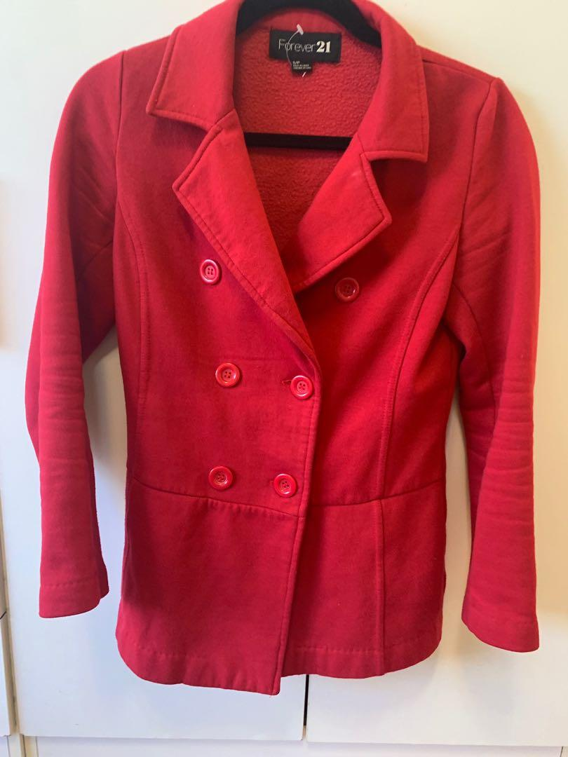 Forever 21 Red Waist Coat / Jacket Size 8 Size Small