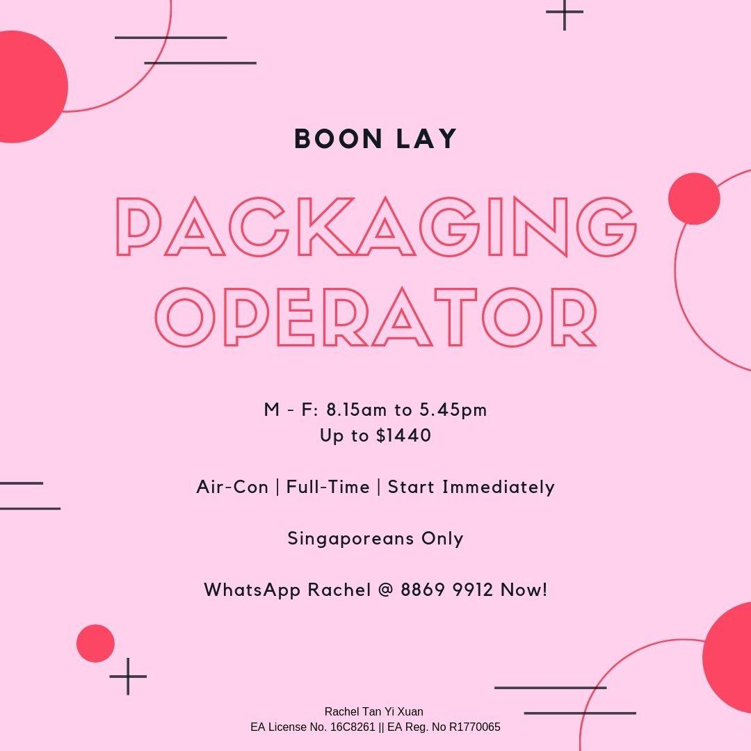 Packaging Operator @ Boon Lay (5 Day Work | Up to $1440)