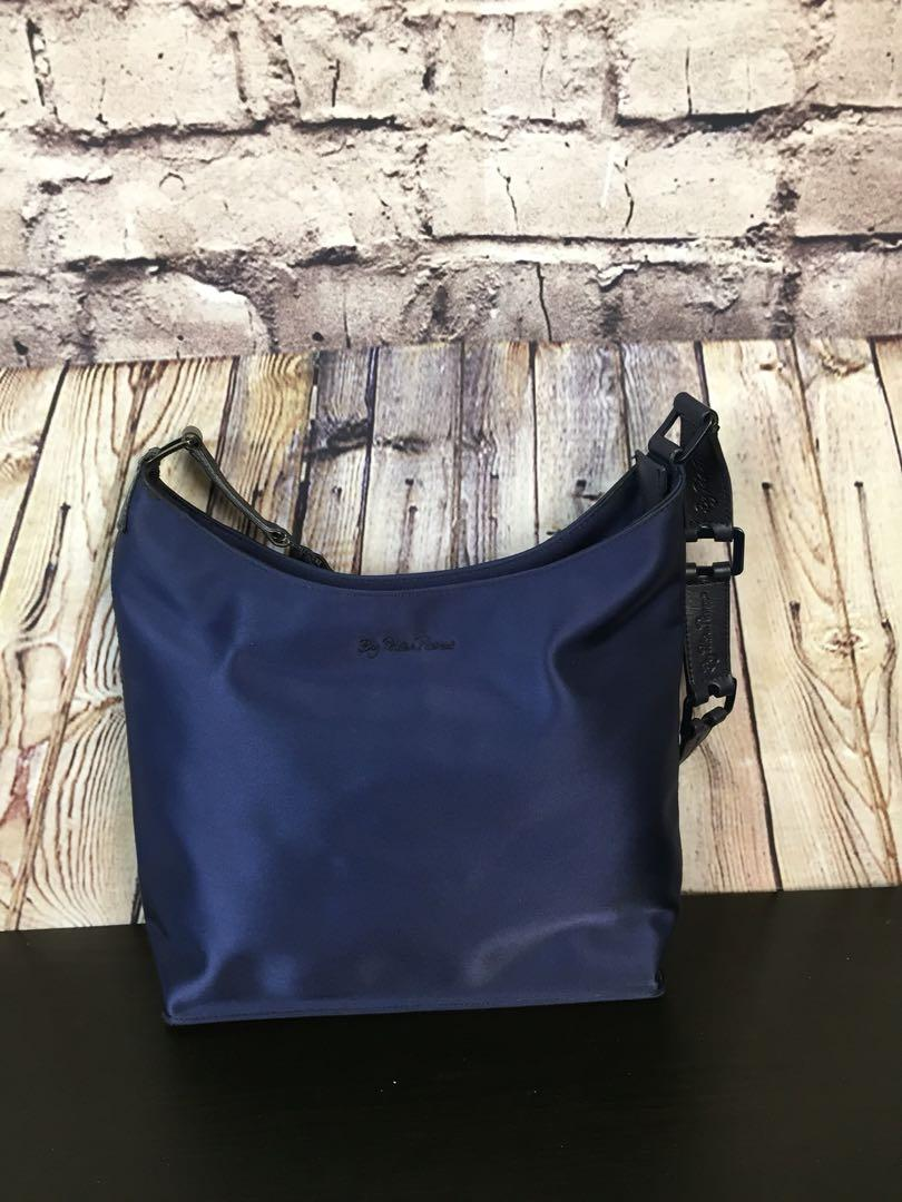 New Listing - By Paloma Picasso Navy Blue Nylon Link Handled Bag