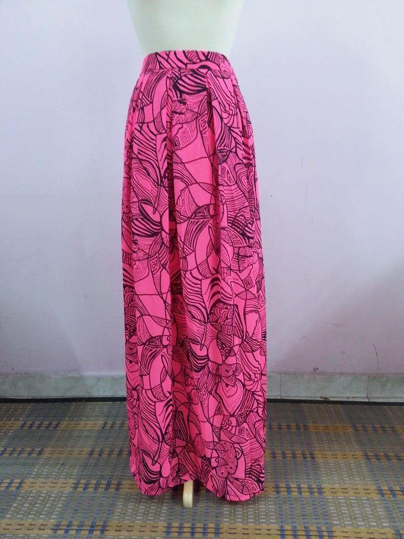 Pleat long skirt