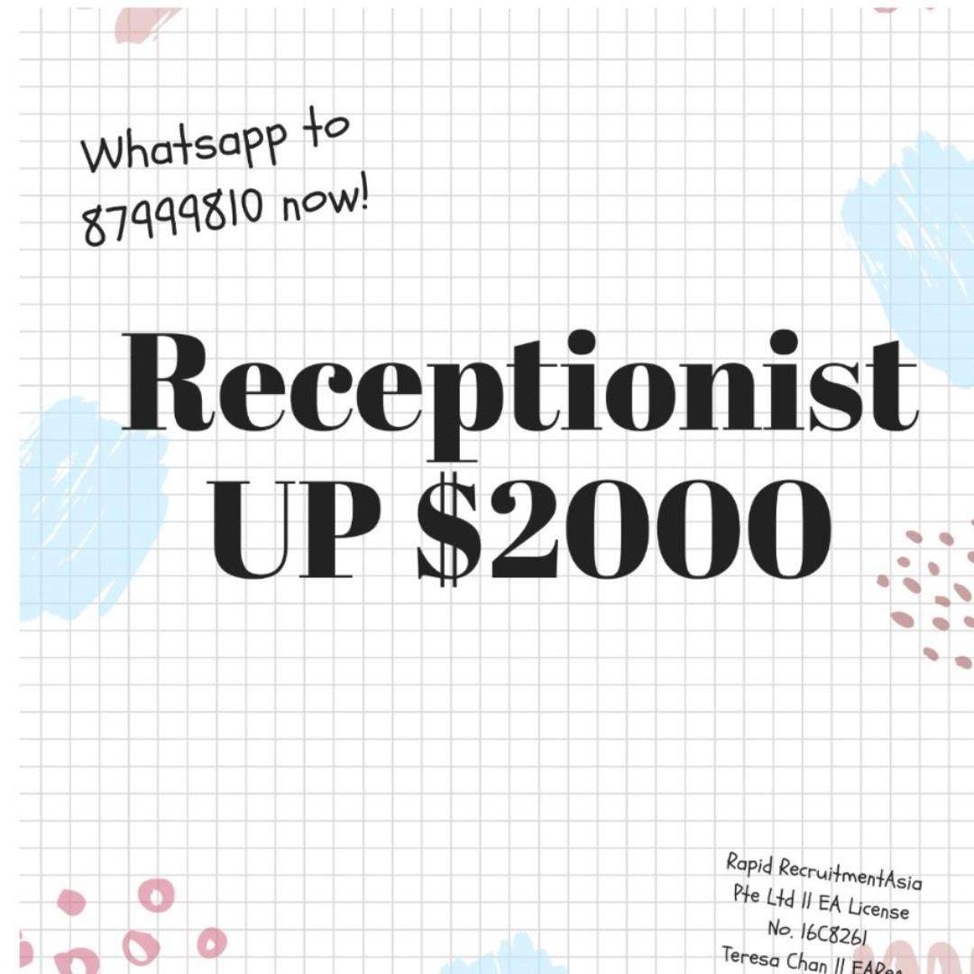Receptionist @ East (Up to $2000, Start ASAP, Perm)