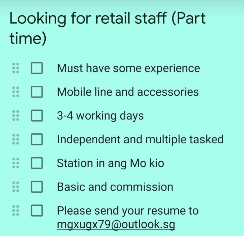 Retail and Sales (part time)
