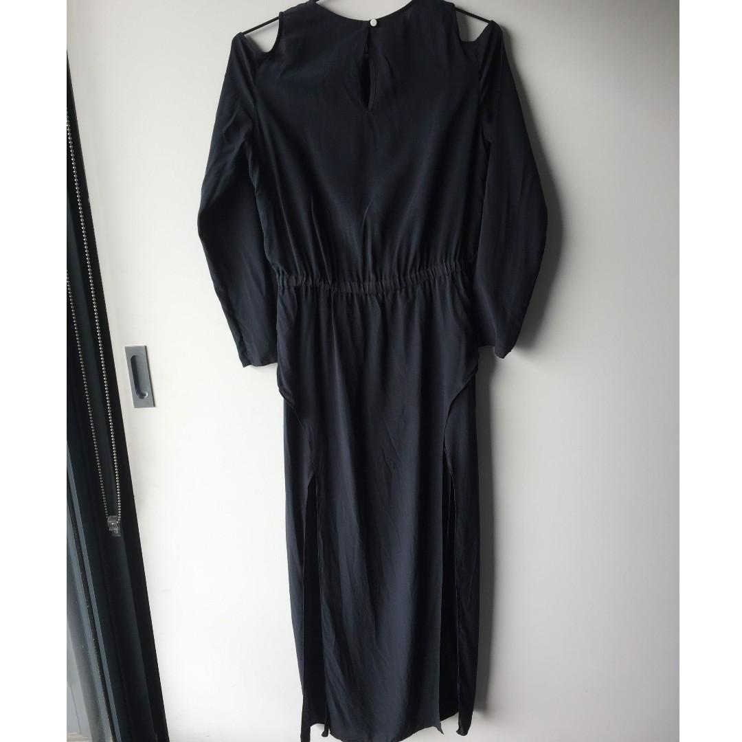 Sass & Bide Silk Tales black long sleeve dress (Size 6)