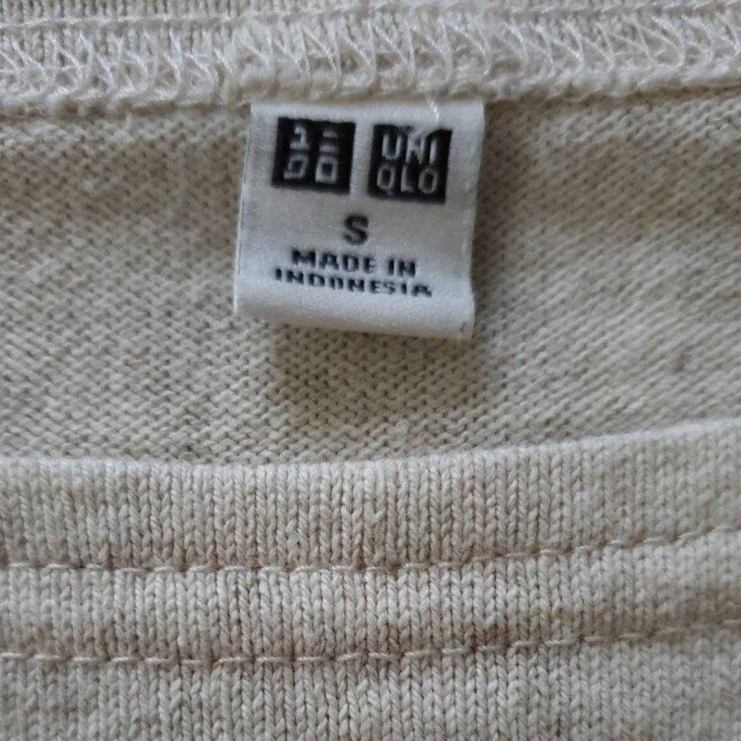 Uniqlo - Men Long Sleeves Tee T Beige Colour with Strips