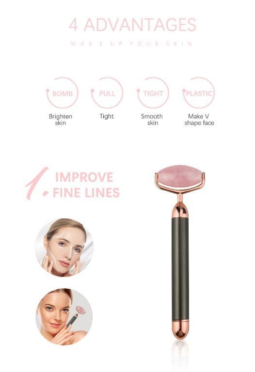 Vibrating Rose Crystal Quartz Facial Massage Roller