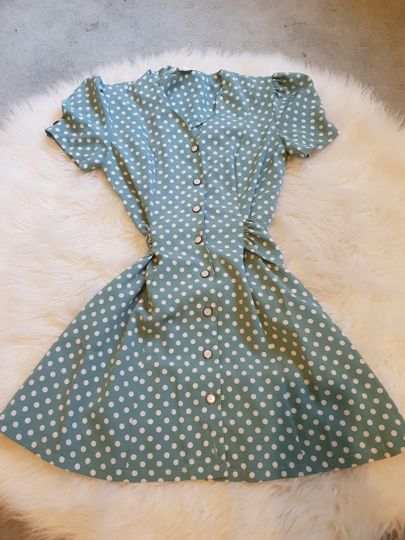 Vintage Blue Polka Dot Dress