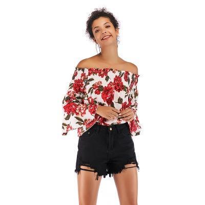 Women's off-shoulder printed chiffon horn long-sleeves tops