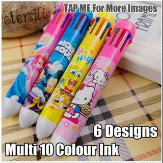 Children Day Gift, Multi 10 Colour Ink Pen, Stationery, Birthday, Christmas, Cute, Party, Gifts, Goodie Bag, Unicorn, Hello Kitty, Mickey & Minnie, Winnie the Pooh, Princess, Doraemon