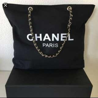Chanel chain canvas tote bag