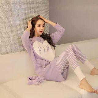 🆕Set 薰衣草色牛奶絲口袋長袖睡衣套裝 size:XL