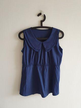 Blue Top and Beige Chiffon Sleeveless Ladies Top Blouse